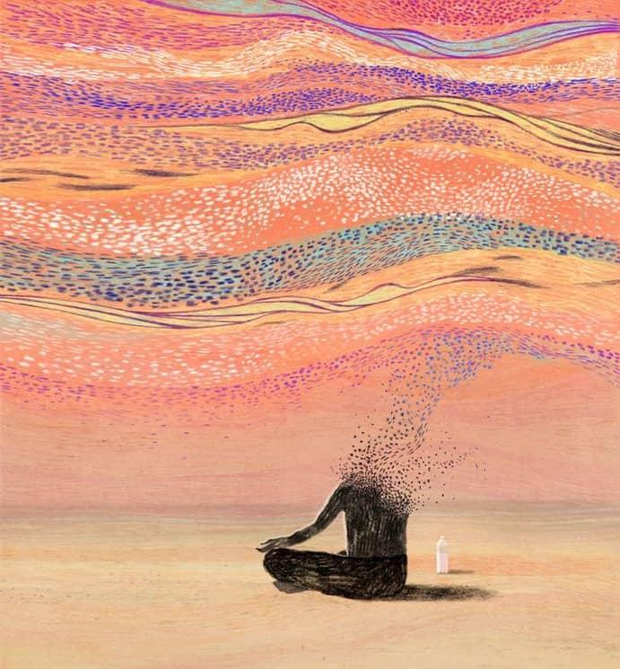 persona stilizzata in meditazione